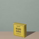 Hudson Made co beard and shave soap citron neroli in a square rectangle yellow cardboard packaging with black writings