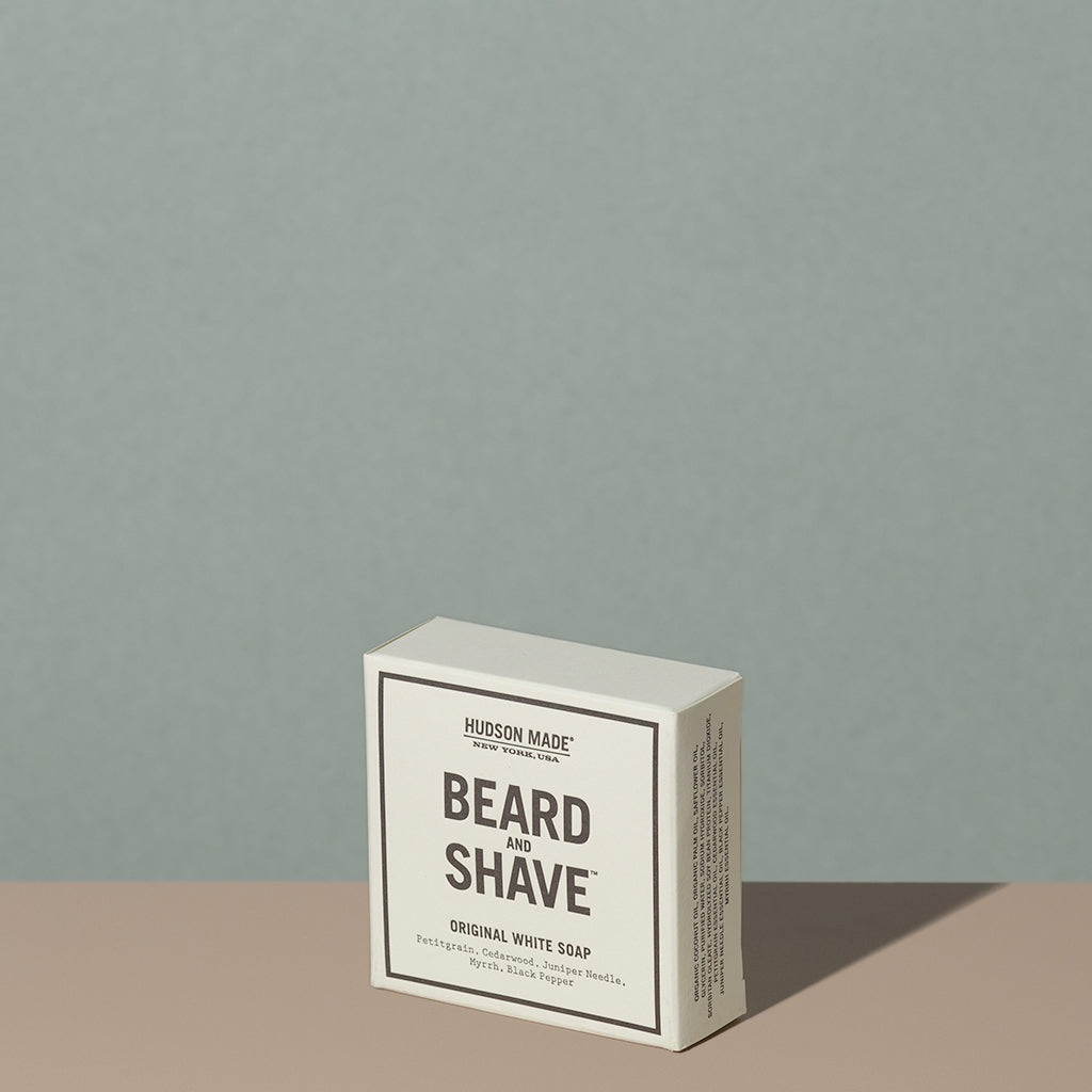 Hudson Made co beard and shave original white soap juniper myrrh in a square rectangle white cardboard packaging with black writings