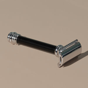 Tall 10 cm Merkur stainless steel Safety Razor with a Long Black Handle