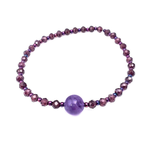 Earth Collection Garnet Stretch Bracelet with Amethyst Focal Bead