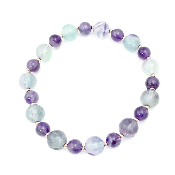 Earth Collection Fluorite and Amethyst Stretch Bracelet