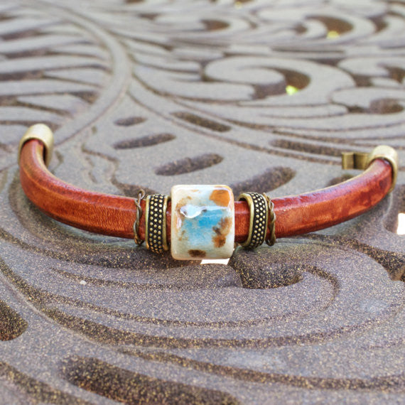 Earth Collection Leather Bracelet with Porcelain Slider Bead