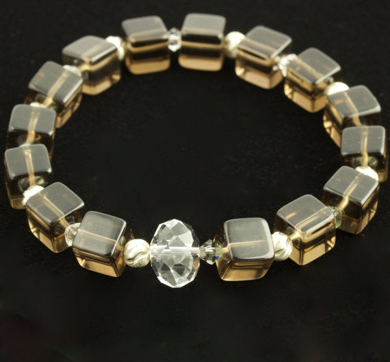Fire Collection Smoky Quartz Stretch Bracelet