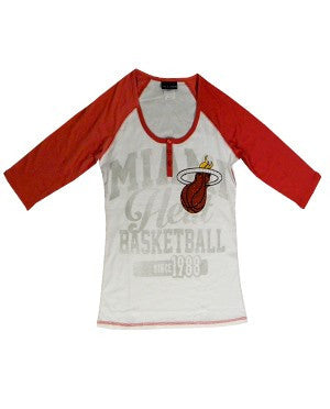 5th and Ocean Miami HEAT Ladies 3/4 Raglan T-Shirt