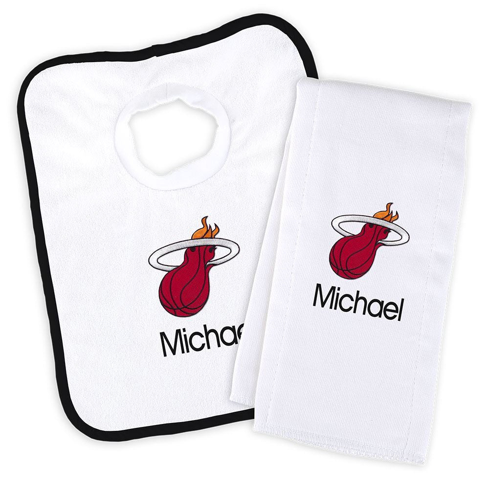 Designs by Chad and Jake Miami HEAT Custom Infant Bib & Cloth set - featured image