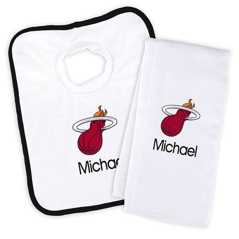Designs by Chad and Jake Miami HEAT Custom Infant Bib & Cloth set