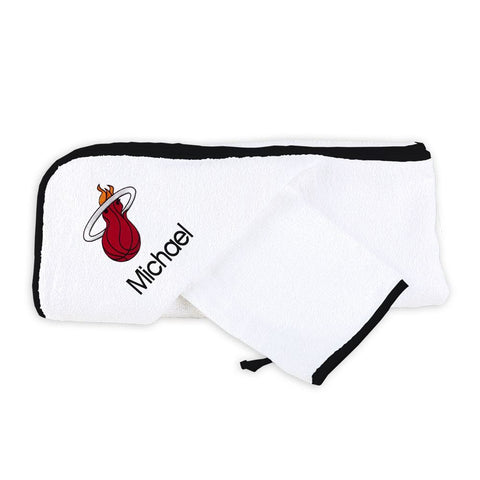 Designs by Chad and Jake Miami HEAT Custom Infant Hooded Towel Set