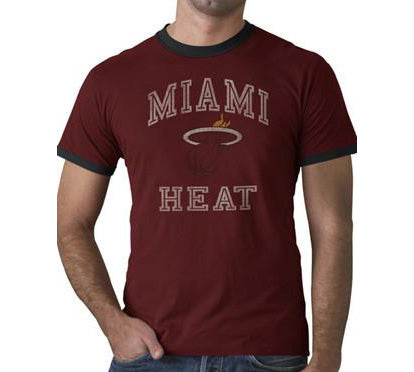 '47 Brand Miami HEAT Brush Back Ringer Red Tee
