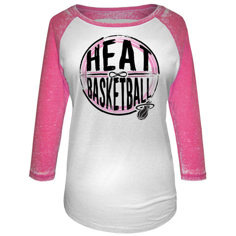 5th and Ocean Miami HEAT Ladies Pink Infinity Raglan
