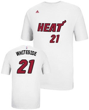 Hassan Whiteside Miami HEAT adidas Name and Number T-Shirt White