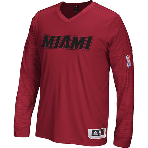 adidas Miami HEAT 2015/16 Long Sleeve On Court Shooting Shirt Red