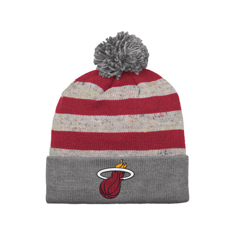 Mitchell & Ness Miami HEAT Speckled Strip Pom Cuff Knit