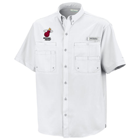 Columbia Sportswear Miami HEAT Tamiami Button Down Shirt White