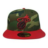 New Era Miami HEAT Wood Camo Scarlet Fitted Hat - 22