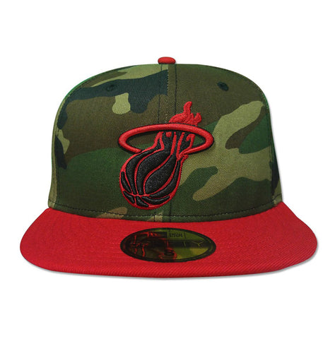 New Era Miami HEAT Wood Camo Scarlet Fitted Hat