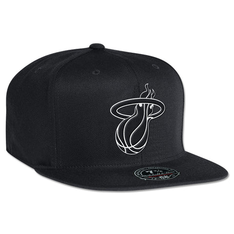 Mitchell and Ness Miami Heat Black and White Fitted Cap