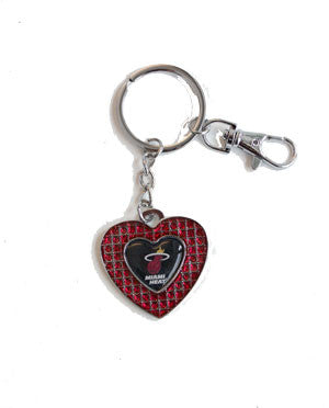 Miami HEAT Glitter Stone Heart Key Chain