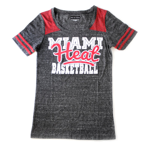 5th & Ocean miami heat Ladies GLITTER HEAT T-shirt