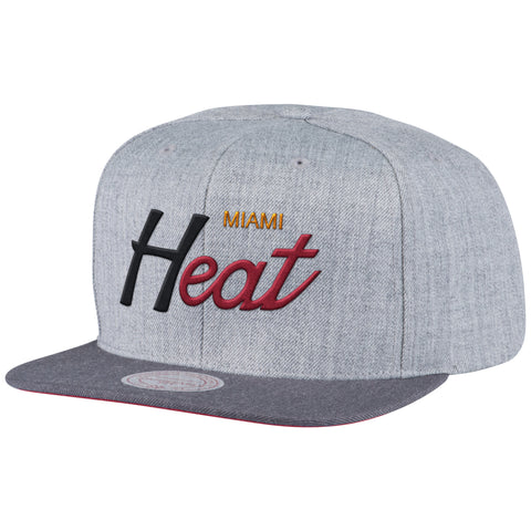 mitchell and ness miami heat TRI POP SCRIPT Snapback