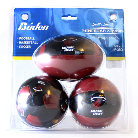 Baden Sports Miami HEAT Polystuffed 3 Pack Mini Balls