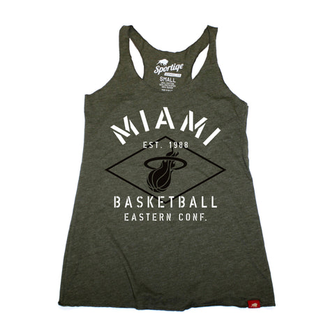 Sportiqe Miami Heat Ladies Comfy Military Tank