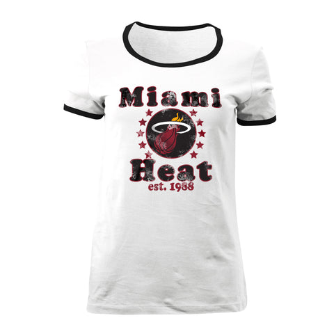 5th & Ocean Miami HEAT Ladies Ringer T-Shirt