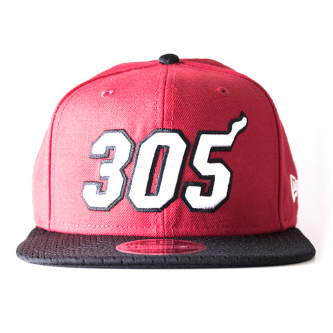 Court Culture Miami HEAT 305 Red and Black Snapback