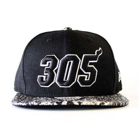 Miami HEAT 305 Black and White Snapback