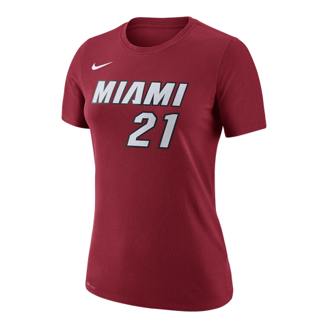 Hassan Whiteside Nike Miami HEAT Ladies Red Name & Number Tee