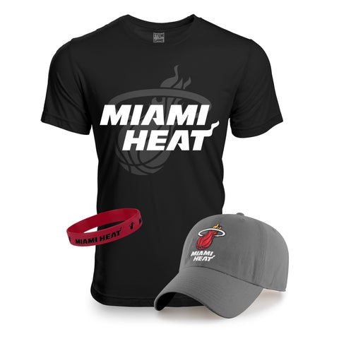 Miami HEAT Hat/Tee Grey/Black Combo Pack