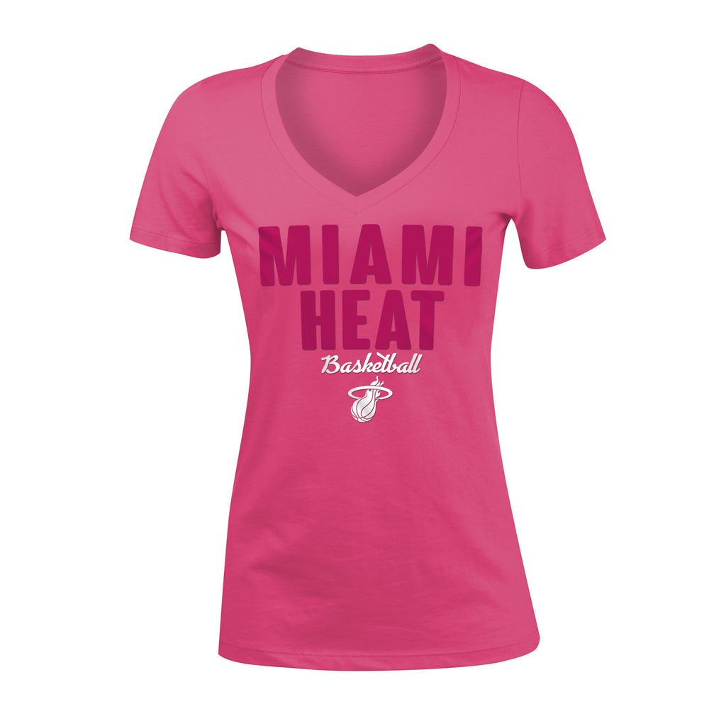 New ERA Miami HEAT Girls Pink V-Neck Tee - featured image
