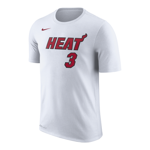 Dwyane Wade NIKE Miami HEAT White Name & Number Tee