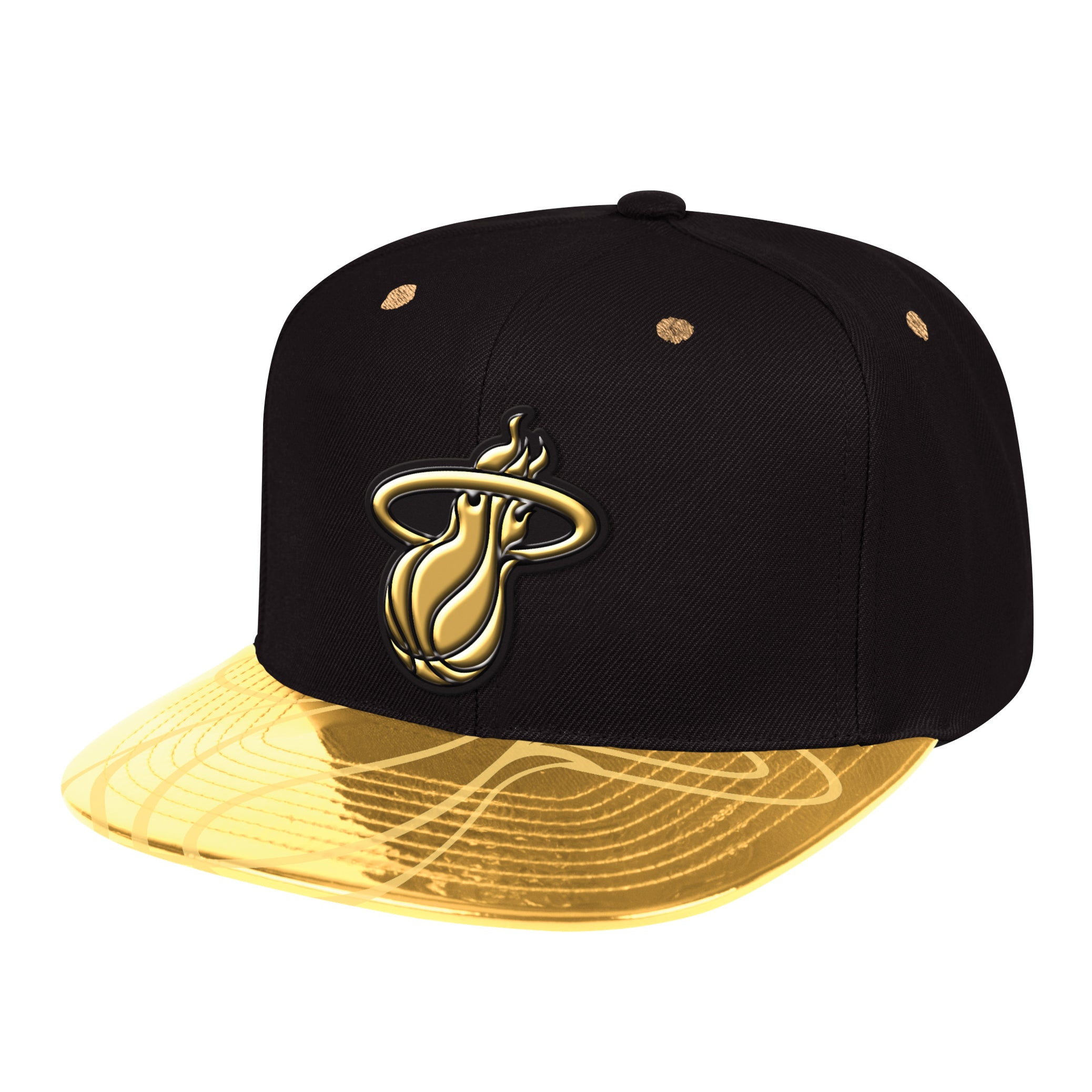 big sale e18c0 4d760 ... black gold nba on court 59fifty fitted hat fa010 7ca19  new zealand mitchell  ness miami heat gold standard snapback featured image 10ee4 d2e03