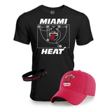 Miami HEAT Hat/Tee Red/Black Combo Pack - 1