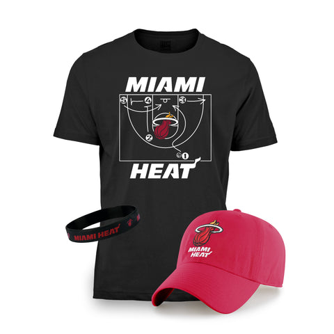 Miami HEAT Youth Hat/Tee Red/Black Combo Pack
