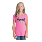 New ERA Miami HEAT Girls Vneck Rayon Pink Tee - 2
