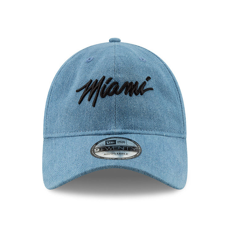New ERA Miami HEAT Denim MIAMI Script Dad Hat – Miami HEAT Store 8acee8316841