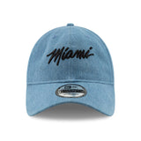 New ERA Miami HEAT Denim MIAMI Script Dad Hat - 1