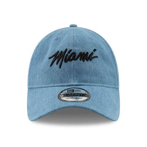 New ERA Miami HEAT Denim MIAMI Script Dad Hat
