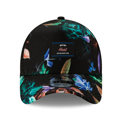 New ERA Black Floral Trucker Hat