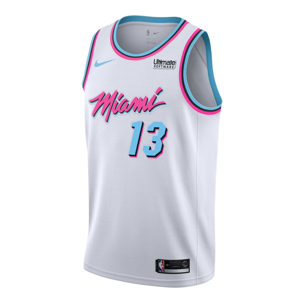SHIPPING BY JUNE 1ST - Bam Adebayo Nike Miami HEAT Vice Uniform City Edition Swingman Jersey - featured image