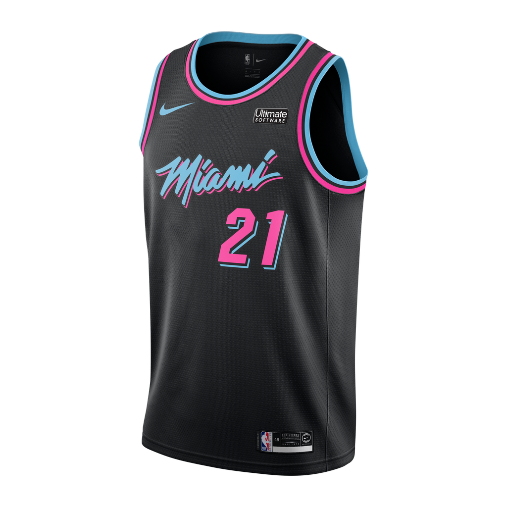 Hassan Whiteside Nike Miami HEAT Youth Vice Nights Swingman Jersey - featured image