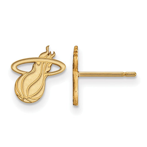 Logo Art Miami HEAT Sterling Silver Gold Plated Ball and Flame Earings