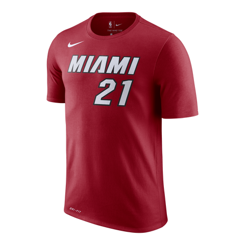 Hassan Whiteside Nike Miami HEAT Red Name & Number Tee