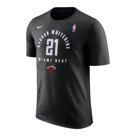 Nike Miami HEAT Whiteside Practice Black Name & Number Tee