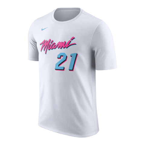 Hassan Whiteside Nike Miami HEAT Vice Uniform City Edition Name & Number Tee