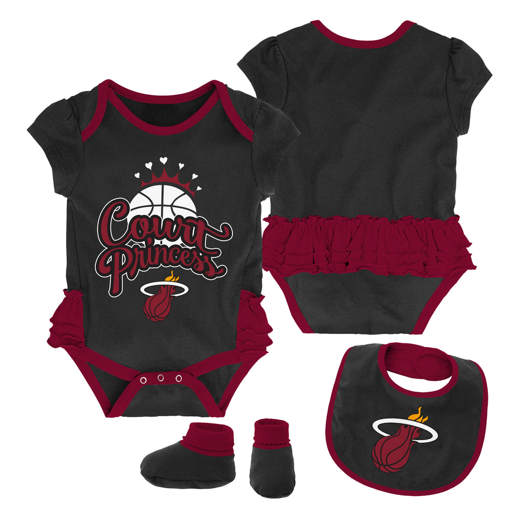 Miami HEAT Girls Mini Trifecta Bib & Bootie Set - featured image