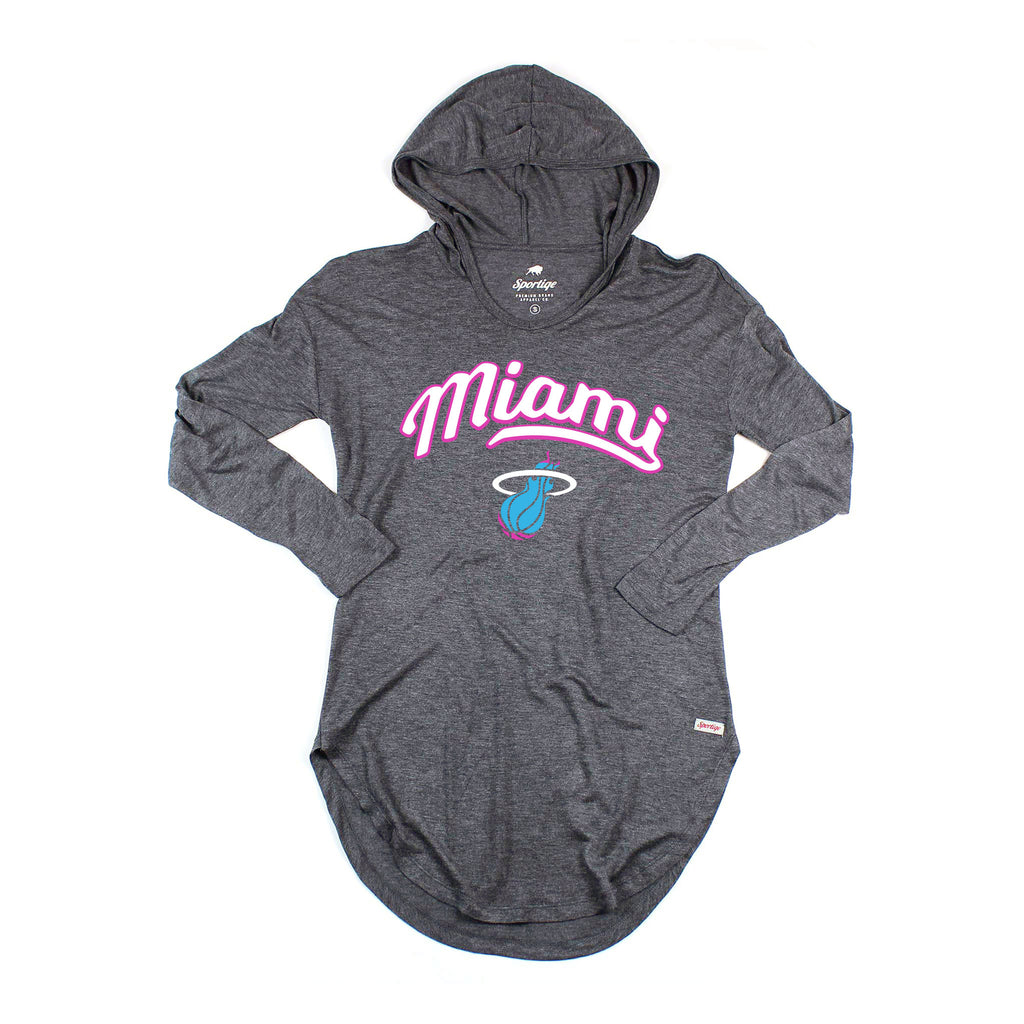 Sportiqe Miami HEAT Vice Nights Ladies Long Sleeve Sofia Hoodie Tee - featured image