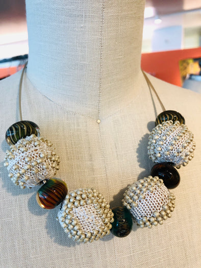 Studio B Knits 4 Ball Cream Necklace on Sterling Wire Chain