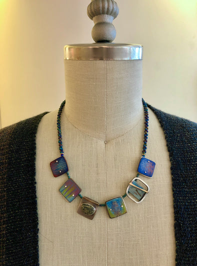Lauren Pollaro Beaded Necklace with Small Squares